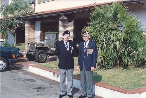 Brothers and co-founders of the Association, Eric (on the left) and Maurice Cheadle, taken during 1989 Italy pilgrimage